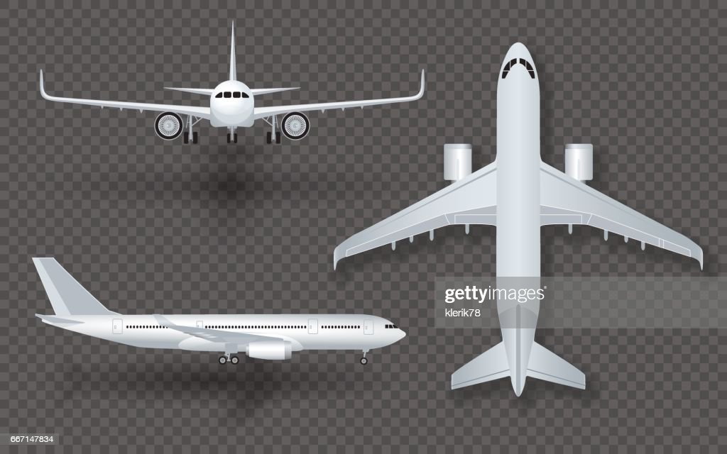 White airplane with shadow icon set on transparent background in profile and from the front isolated vector illustration