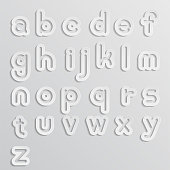 White Alphabet Text in Paper cut Style