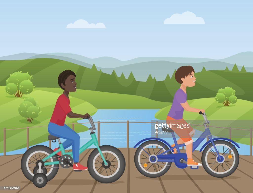 White and african kids riding bikes, Child riding bike, kids on bicycle in the park vector illustration.