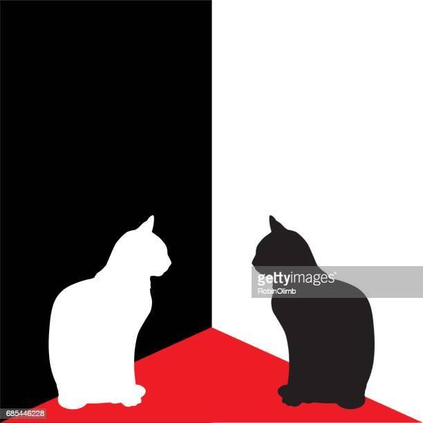 illustrations, cliparts, dessins animés et icônes de blanc et noir les chats du coin - chat profil
