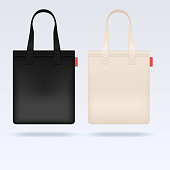 White and black fabric cloth tote bags vector mockup