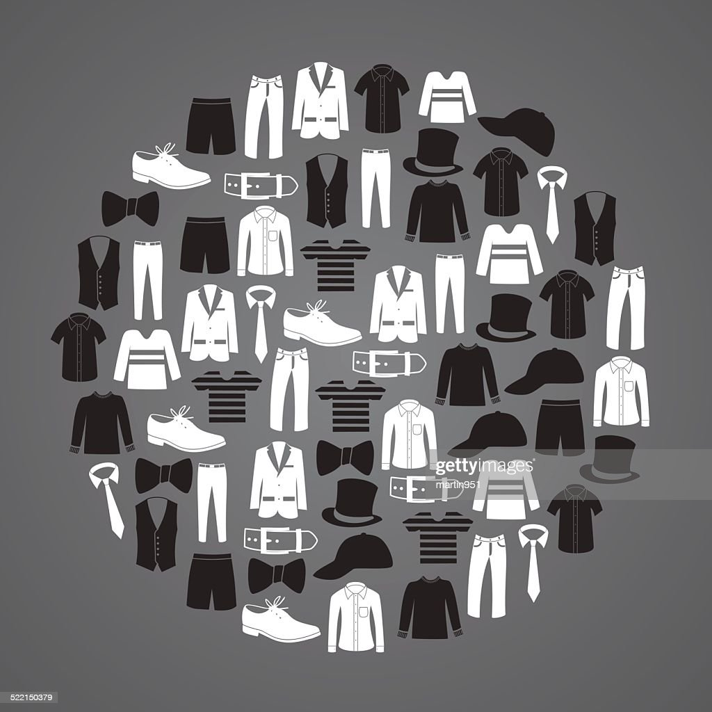 white and black mens clothing icons in circle eps10