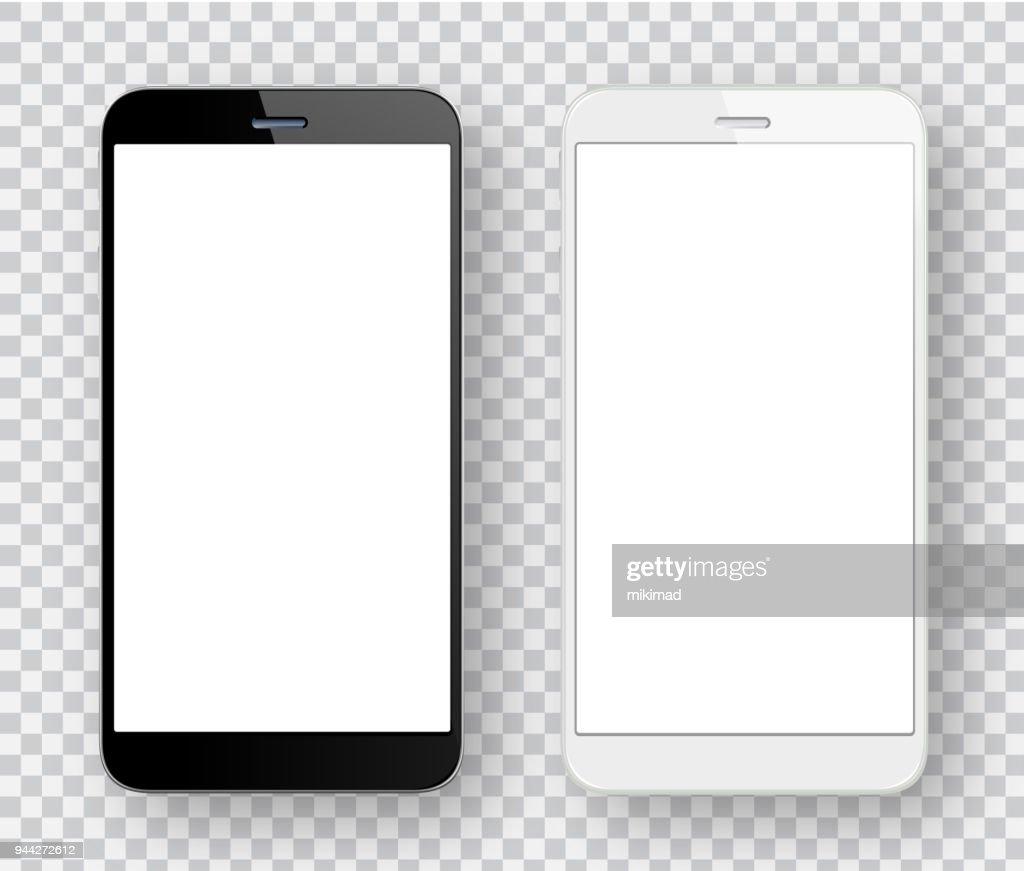 Witte en zwarte mobiele telefoons : Stockillustraties