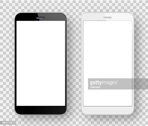 white and black mobile phones - blank stock illustrations