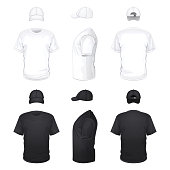 White and Black T-shirts and Caps