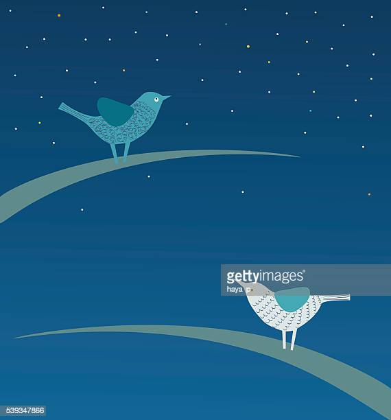 White and Blue Birds Sitting on Leaves of Grass