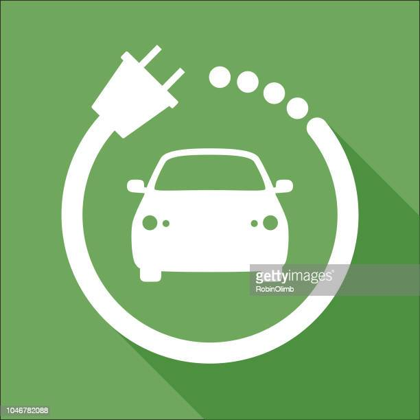 white and green car charger icon - electric car stock illustrations, clip art, cartoons, & icons