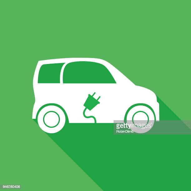 white and green electric car icon - electric car stock illustrations, clip art, cartoons, & icons
