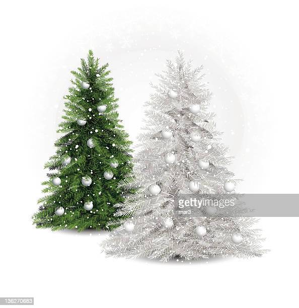 white and green pine trees - christmas trees stock illustrations