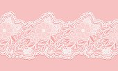 White and pink seamless lace tape on pink background. Floral seamless border for design.
