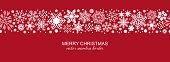 White and red seamless snowflake border, Christmas