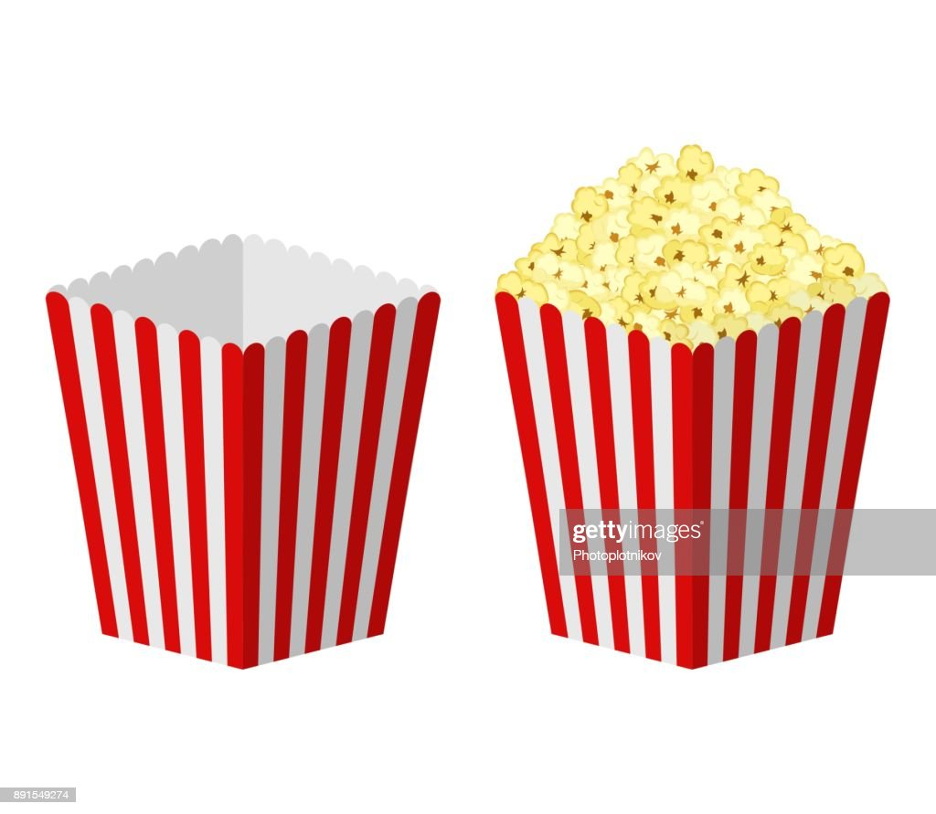 White and red striped paper popcorn bag isolated on white background. Classic movie-theater full and empty popcorn box. food cinema movie film