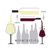 White and red wine. Pouring wine in a wine glass. Silhouettes of bottles. Illustration for a wine tasting. Vector background.