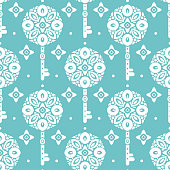 White and turquoise vintage vector seamless pattern with keys, wallpaper.