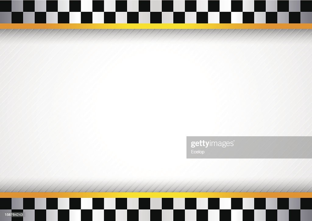 White background featuring checkered flag border