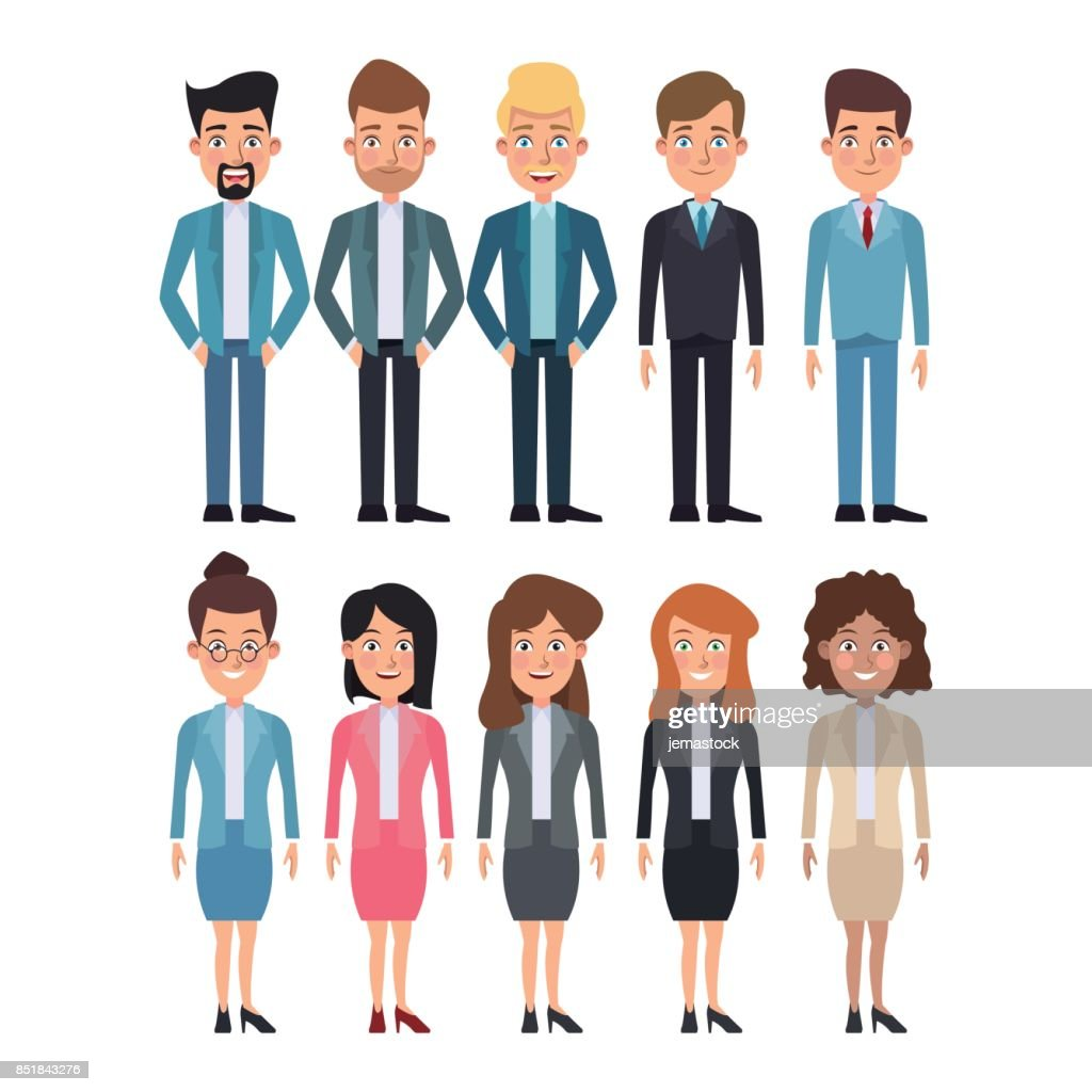 white background full body set of multiple women and men characters for business