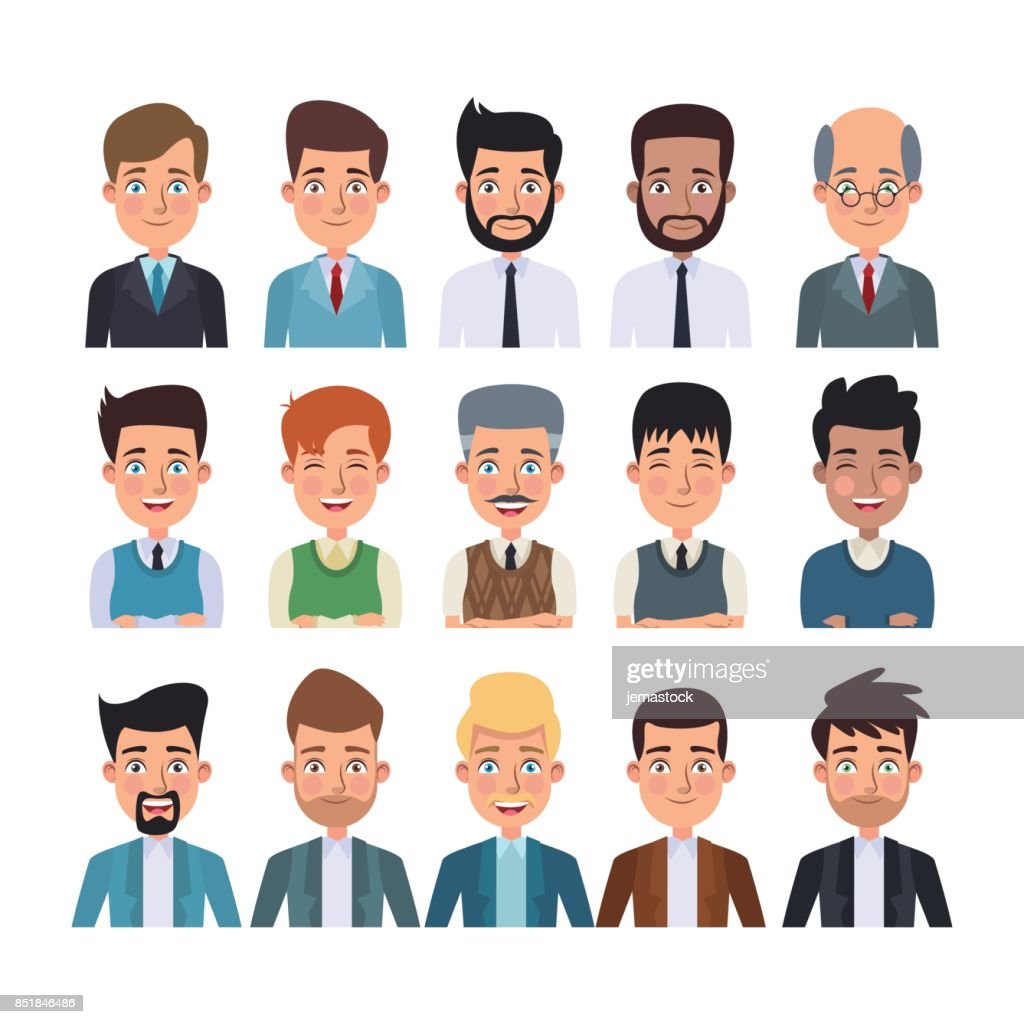 white background of colorful half body set of multiple men characters for business