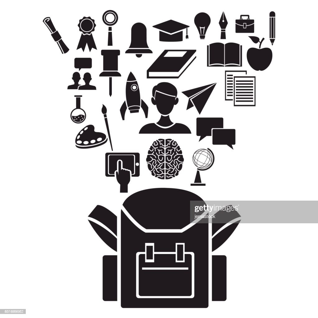 white background with black silhouette of school bag with floating elements academic knowledge