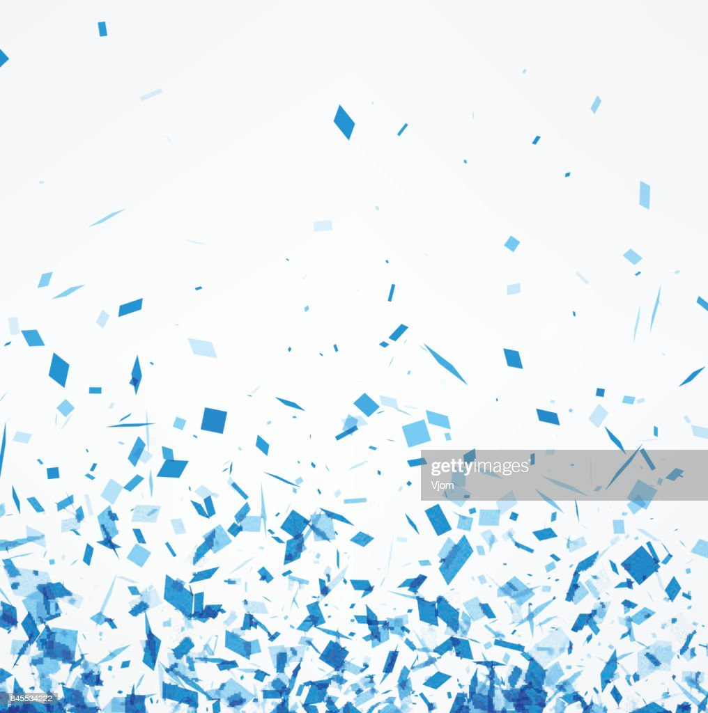 White background with blue confetti.