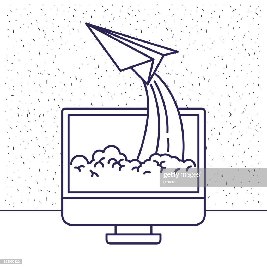 white background with blue silhouette with lcd monitor and paper plane
