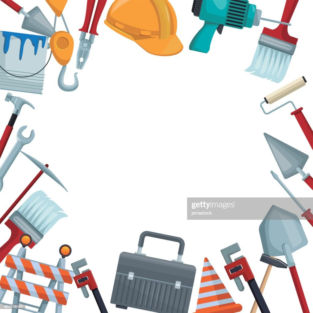 white background with colorful border icons of tools contruction