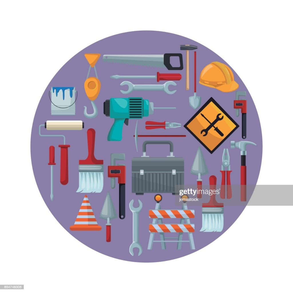 white background with colorful circular frame with icons of tools contruction