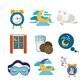 white background with colorful elements sleep time