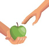white background with colorful hands giving a apple fruit to other palm human