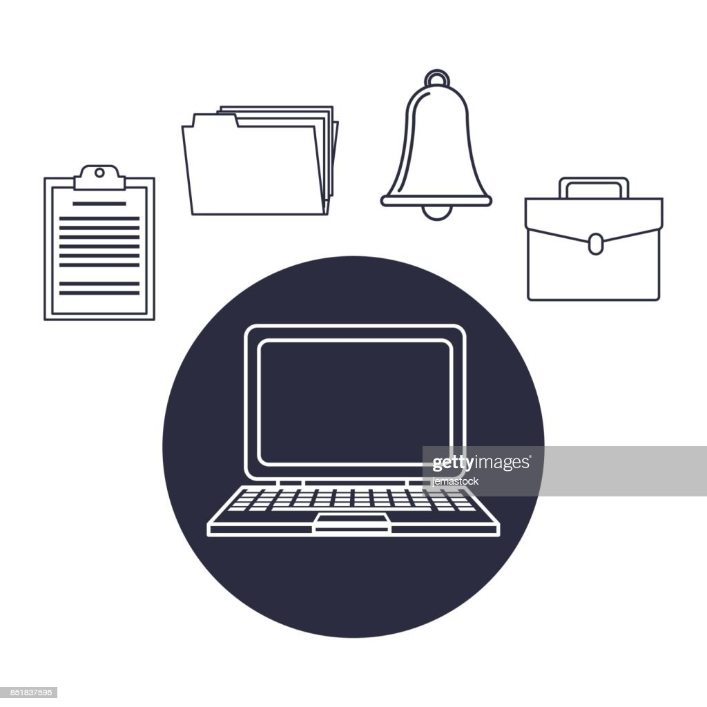 white background with dark blue silhouette tech laptop with icons office elements around