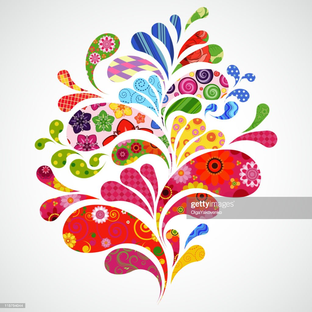 White background with multi colored floral splashes