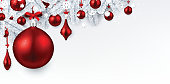 White background with red Christmas ball.