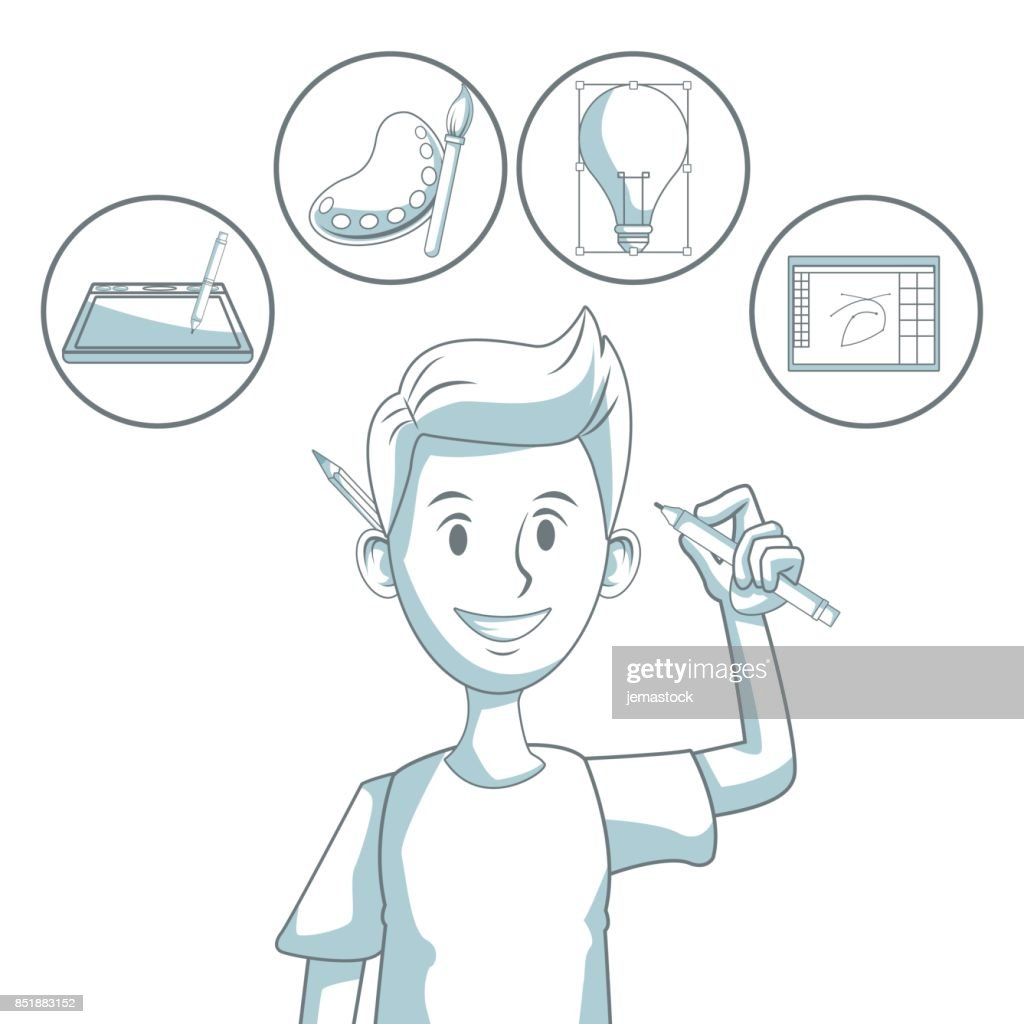white background with silhouette color sections shading of guy designer and icons elements graphic design