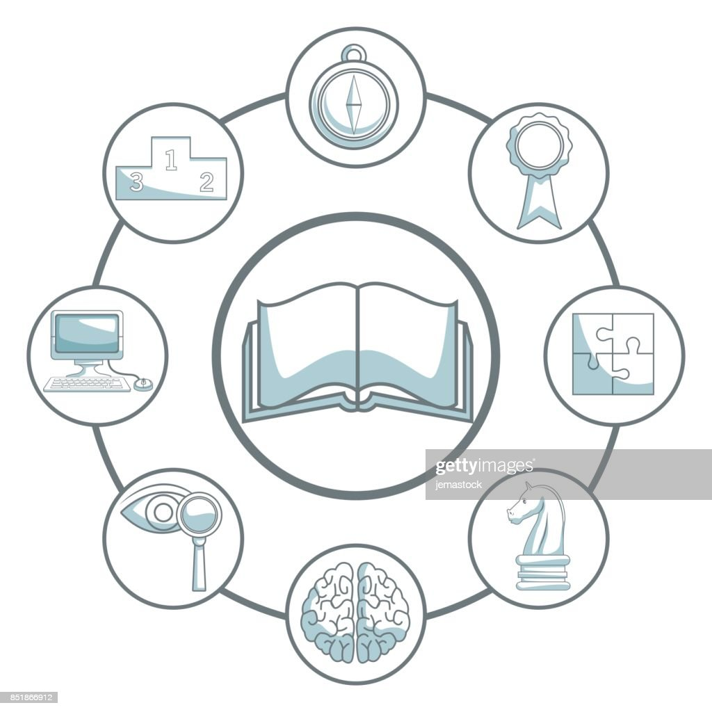 white background with silhouette color sections shading of open book and icons business development around