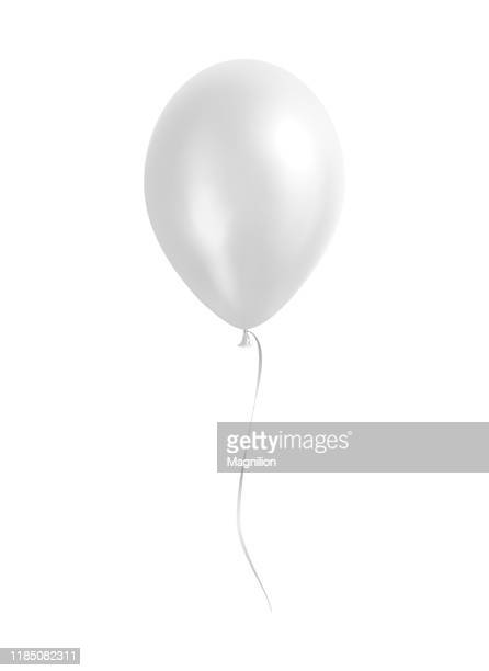 white balloon with silver ribbon - balloon stock illustrations