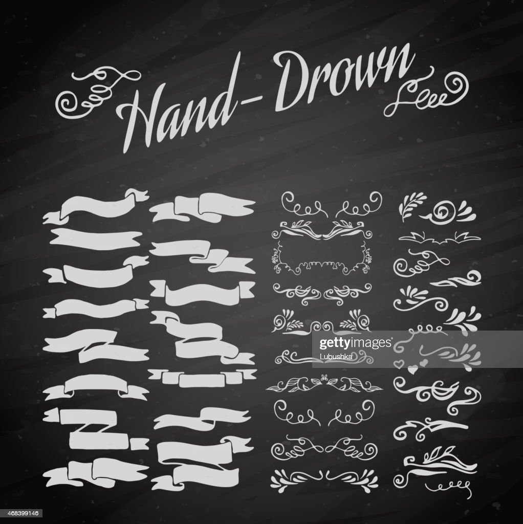 White banner sketches on a chalkboard