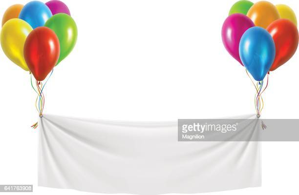 White Banner with Balloons
