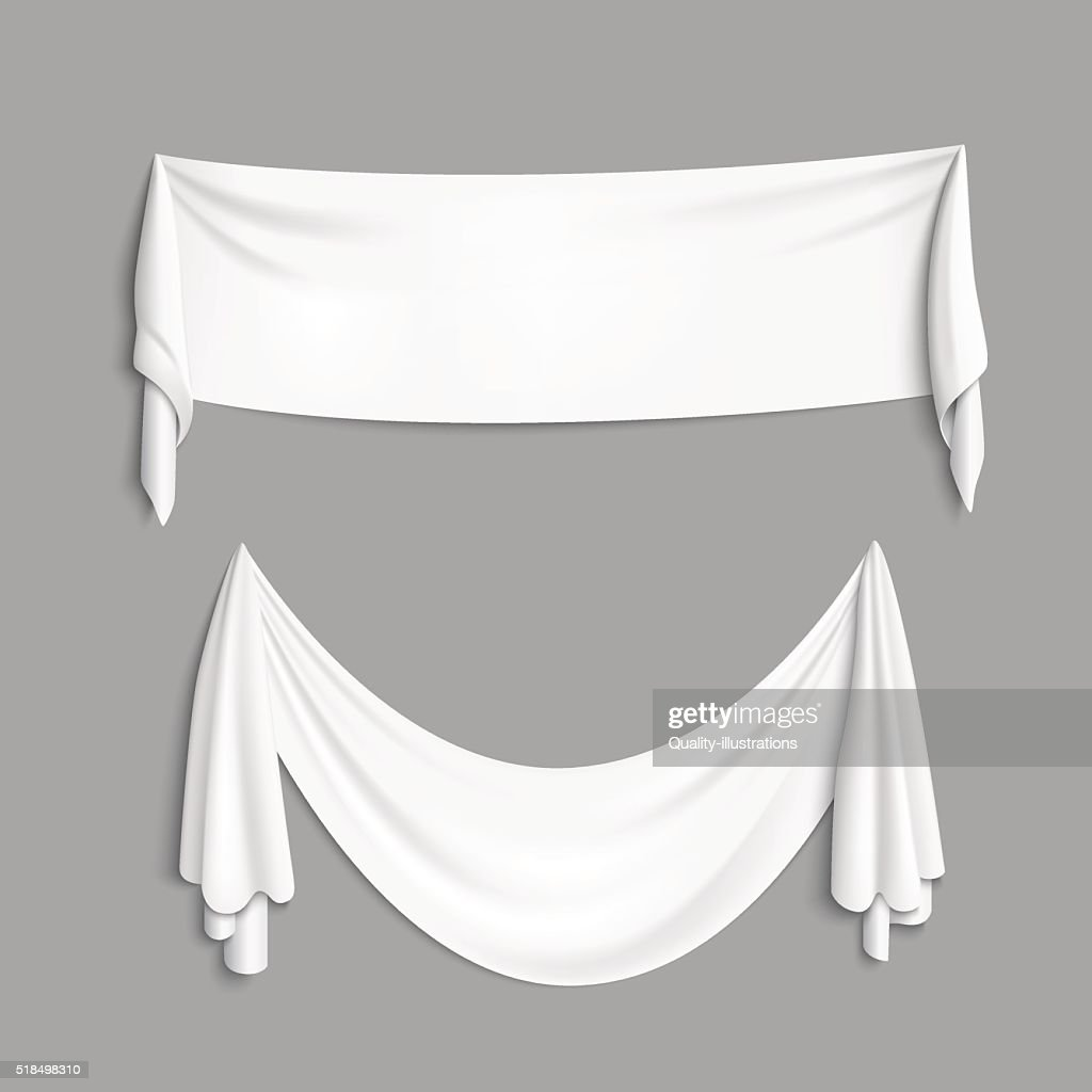 White banner with folds