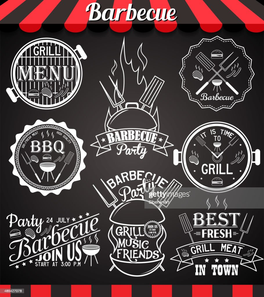 White barbecue party collection of icons, labels, signs, symbols