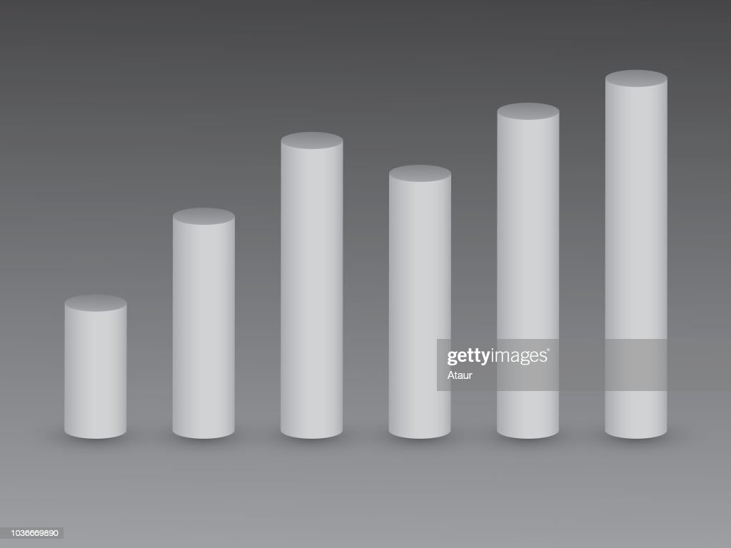 3D white bars on black background for showing growth and value