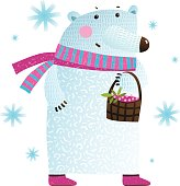 White Bear with Berries and Snowflakes