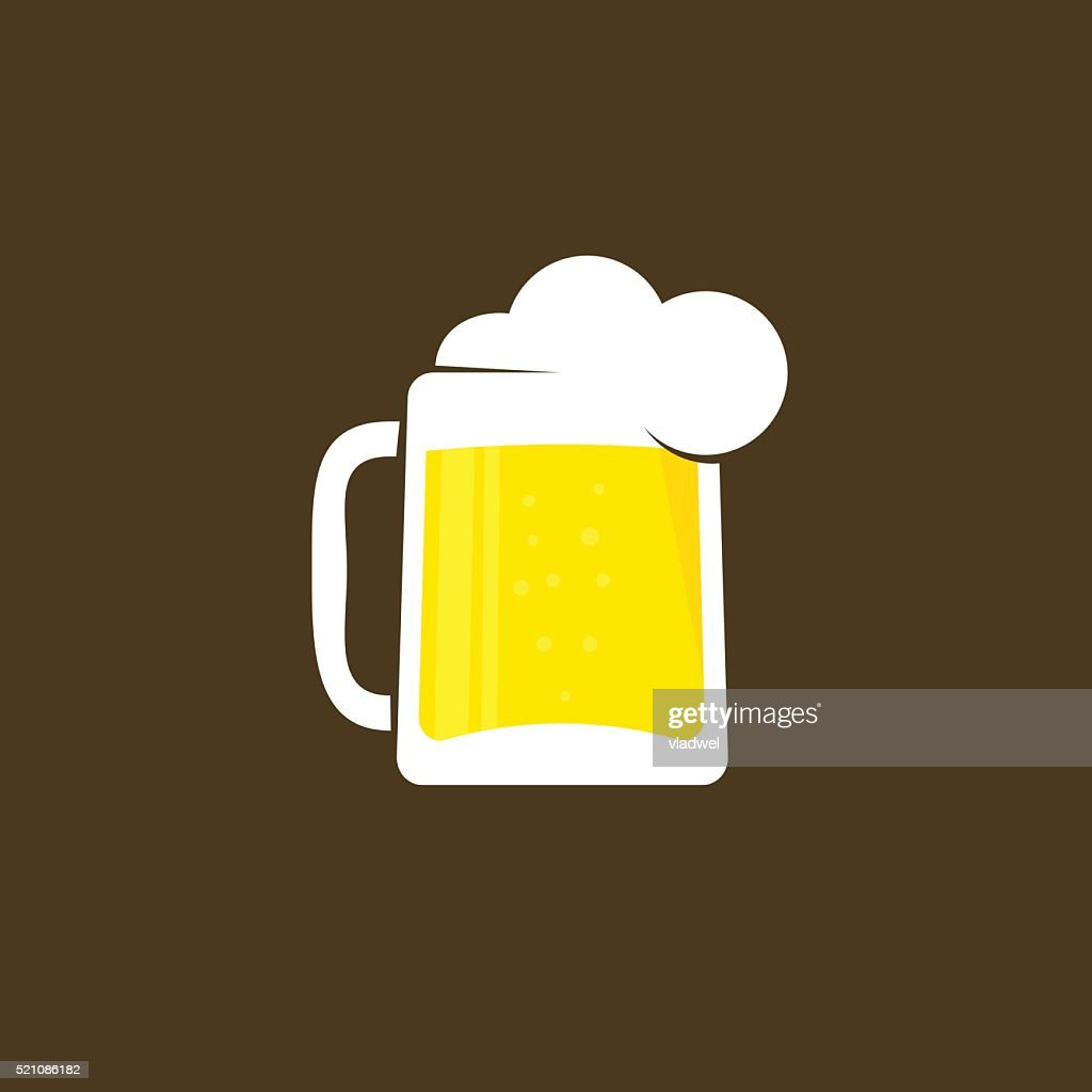 White beer glass with foam vector logo template