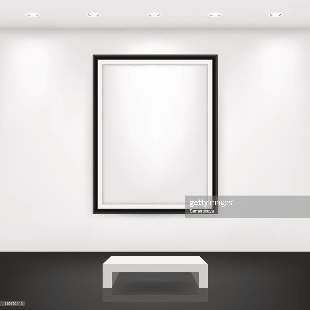 White Bench In Front Of An Empty Black Frame On A Wall Vector Art