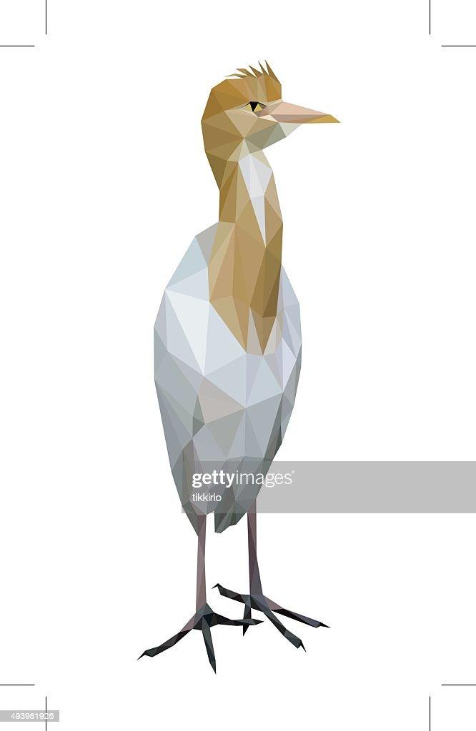 White bird low polygon standing (Cattle Egret)
