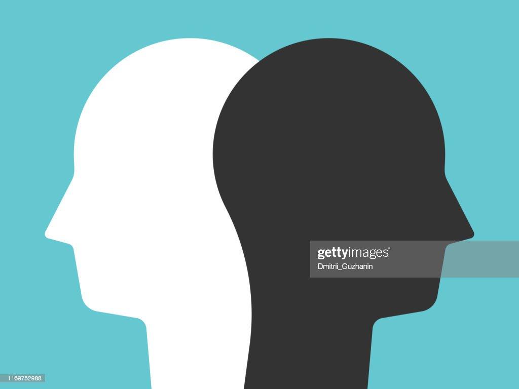 White, black head silhouettes : stock illustration