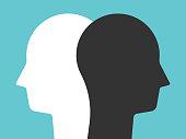 White, black head silhouettes