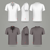 White black mens polo t-shirt front back and side
