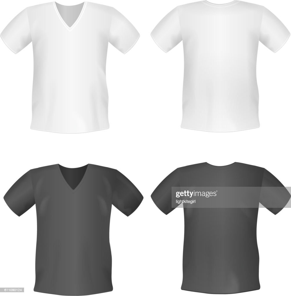 White black men's t-shirt short front, back views