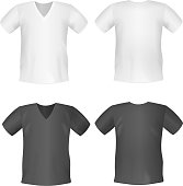 White black men's t-shirt short front, back views