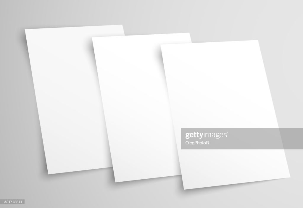 White blank A4 paper. Templates for presentation of the design of a flyer, cover