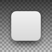 White Blank App Icon Button Template